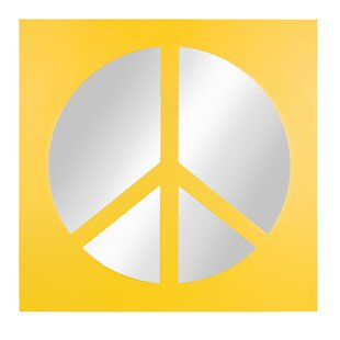 Zoomie Kids Ealing Peace Sign Icon Square Wall Accent Mirror
