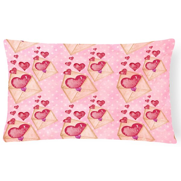 Danger Watercolor Love Letter Indoor/Outdoor Throw Pillow by Zoomie Kids