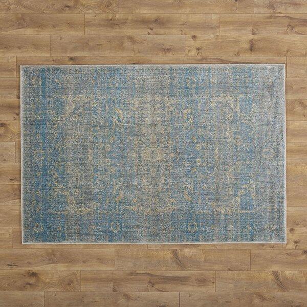 Jonas Teal Blue Mustard Beige Area Rug by Birch Lane™