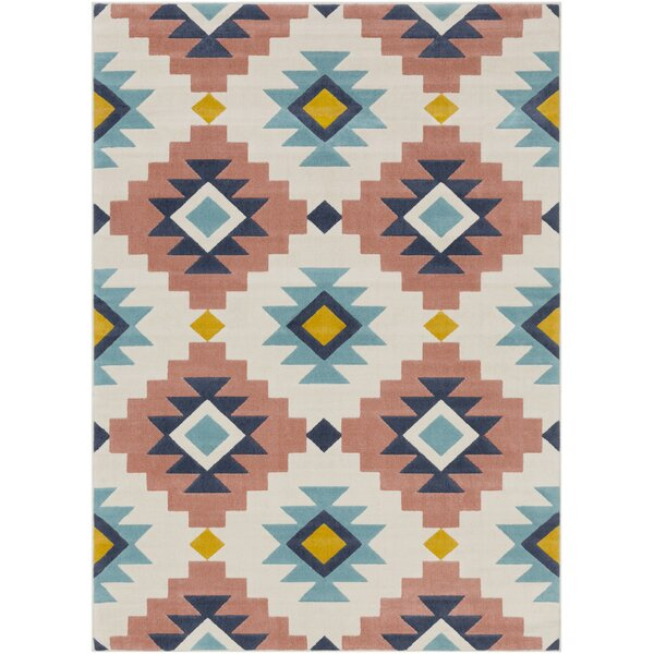 Schafer Modern Global-Inspired Aqua/Coral Area Rug by Union Rustic