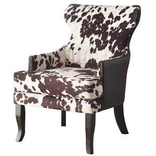 Awesome Faux Cowhide Accent Wingback Chair