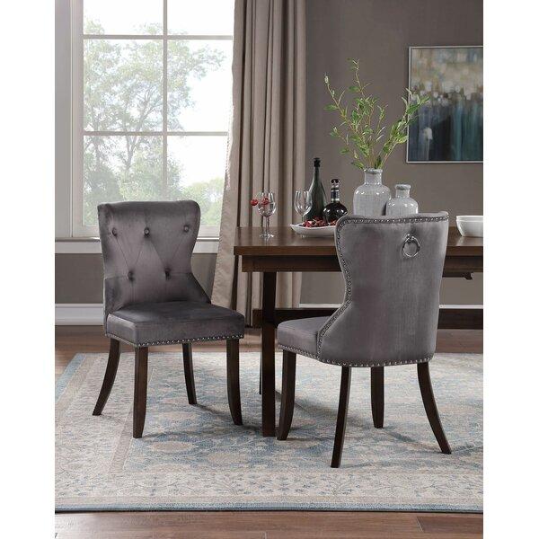 Walley Tufted Velvet Upholstered Parsons Chair in Gray (Set of 4) by Rosdorf Park Rosdorf Park