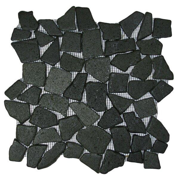 Sankuru Random Sized Natural Stone Mosaic Tile in Black by CNK Tile