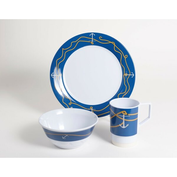 Decorated Anchorline Melamine 12 Piece Dinnerware Set, Service for 4 by Galleyware Company