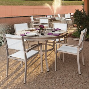 Farmington 5 Piece Tekwood Dining Set with Stackable Chairs By Latitude Run
