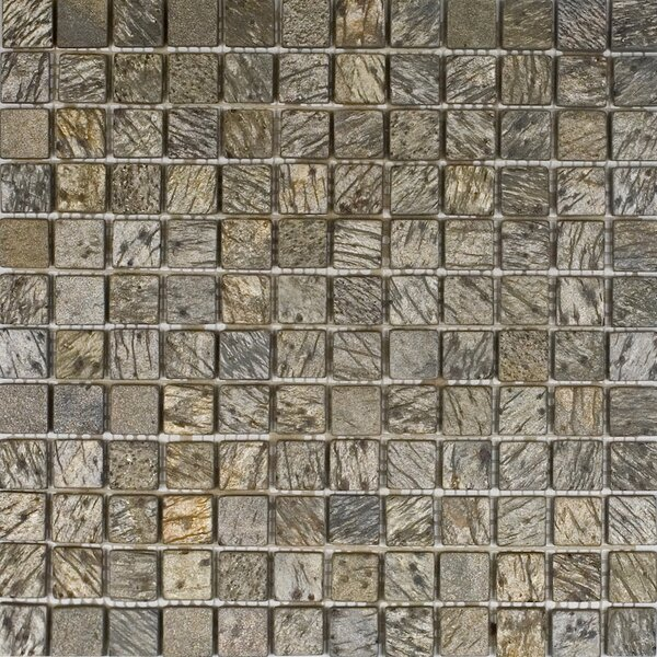 1 x 1 Slate Mosaic Tile in Gold Green by Epoch Architectural Surfaces