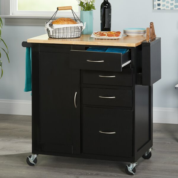 Elida Kitchen Cart with Butcher Block Top by Ebern Designs