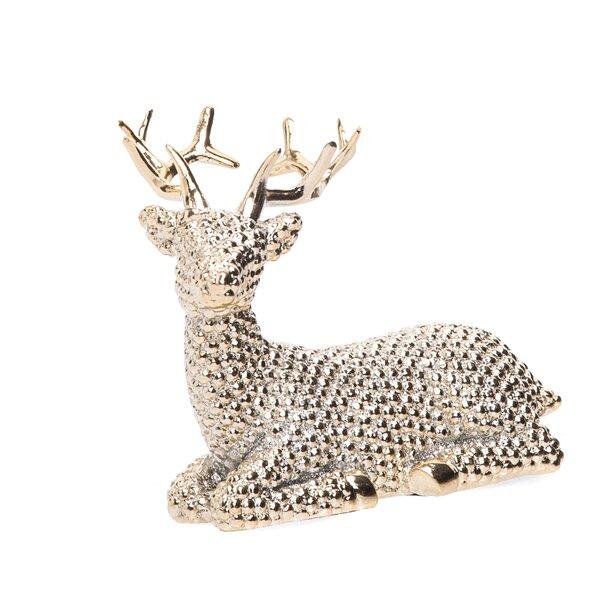 Desmond Small Resin Shiny Gold Reindeer by The Holiday Aisle