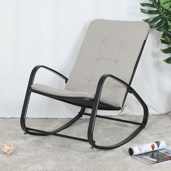 Quintin Patio Rocking Chair with Cushions by Wrought Studio