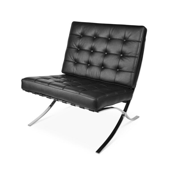 Swensen Leather Lounge Chair by Orren Ellis