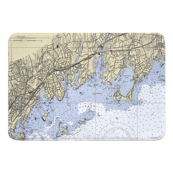 Nautical Chart Greenwich CT Memory Rectangle Memory Foam Non-Slip Bath Rug
