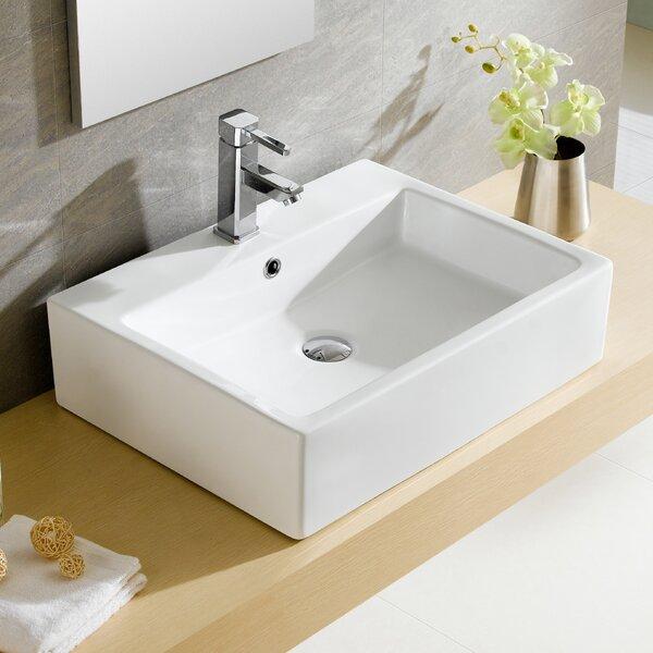Modern Ceramic Rectangular Vessel Bathroom Sink with Overflow by Fine Fixtures