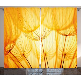Dandelion curtains wayfair yellow joy of dandelion flower garden seeds in hot summer time themed artwork graphic print text semi sheer rod pocket curtain panels set of 2 mightylinksfo