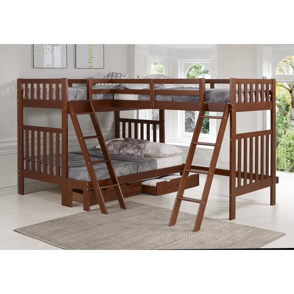 Ratcliff Twin Over Full L-Shaped Bunk Beds with Drawers by Alcott Hill