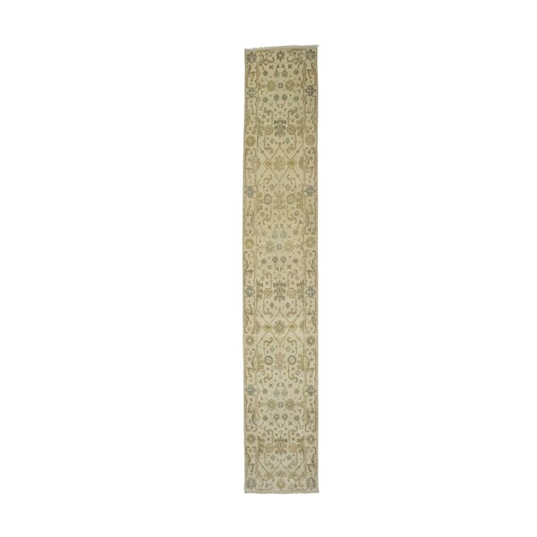 Claiborne Indian Hand-Knotted Runner Wool Beige Area Rug