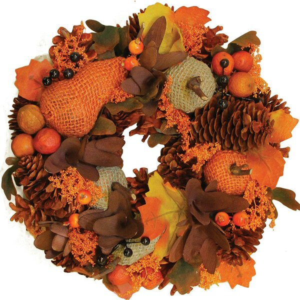 Autumn Harvest Gourds and Berries Artificial Wreath by Northlight Seasonal