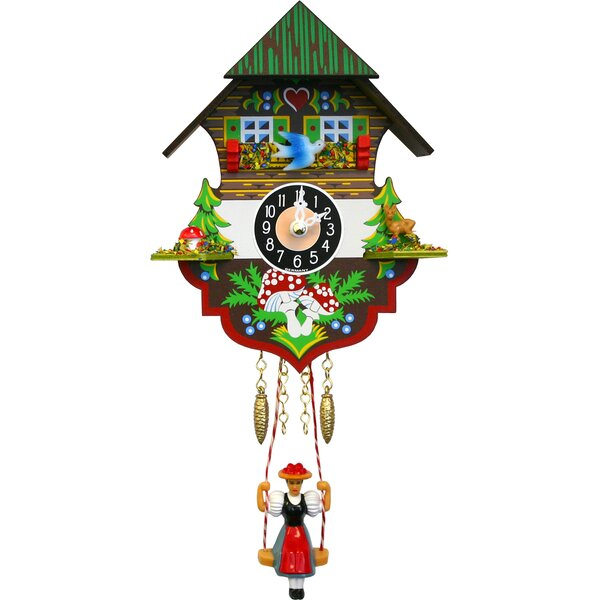 Battery Operated Cuckoo Wall Clock With Swinging Girl by Loon Peak
