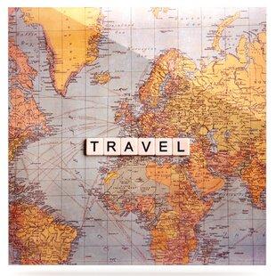 World travel wall art wayfair world travel map graphic art print on metal gumiabroncs Images