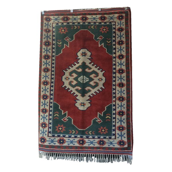 One-of-a-Kind Pepin Hand-Knotted Wool Red/Green Area Rug by Loon Peak