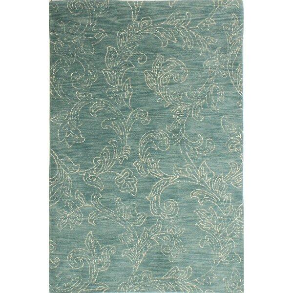 Kory Hand-Tufted Wool Teal Area Rug by Mistana