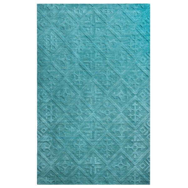 Split Hand-Loomed Teal Area Rug by Meridian Rugmakers