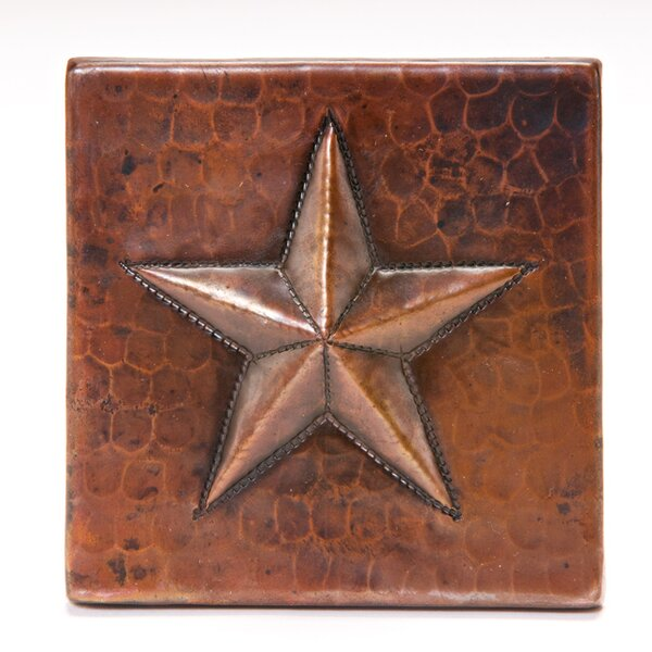 4 x 4 Copper Star Tile in Oil Rubbed Bronze by Premier Copper Products
