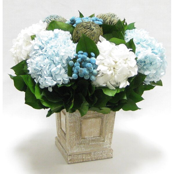 Mixed Floral Centerpiece in Wooden Mini Square Container with Inset Natural by Rosdorf Park