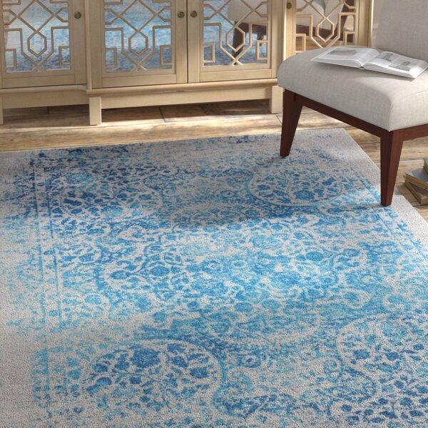 Elkins Distressed Blue Area Rug by Bungalow Rose