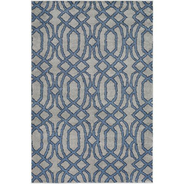 Sterling Bright Blue/Medium Gray/Black Area Rug by Mercer41