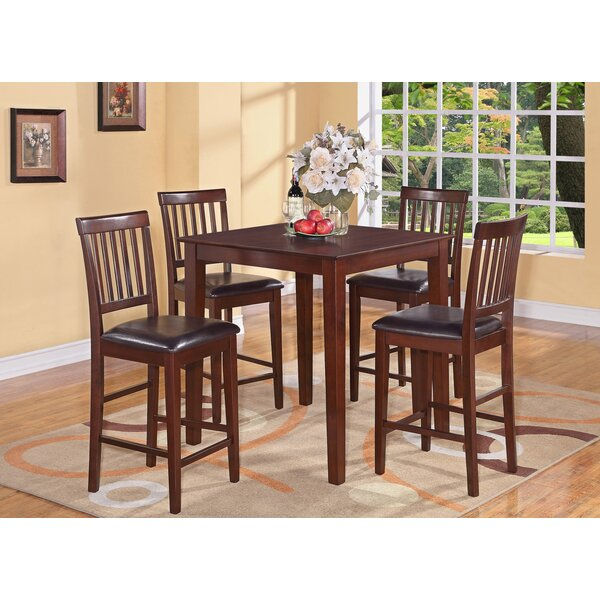 Quinlan 5 Piece Counter Height Solid Wood Dining Set by Andover Mills Andover Mills