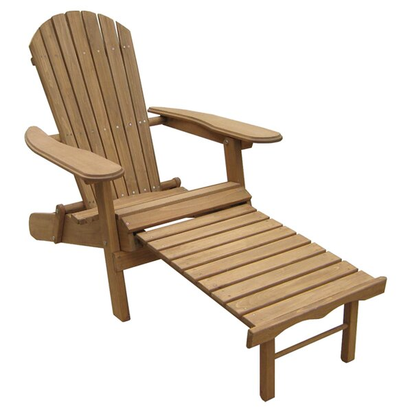 Foldable Wood Adirondack Chair with Ottoman by Atlantic Outdoor