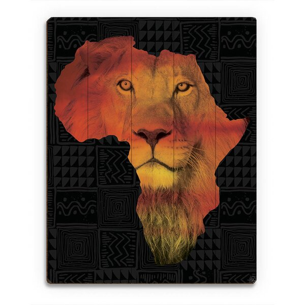 Africa Silhouette - Lion Graphic Art on Plaque by Click Wall Art