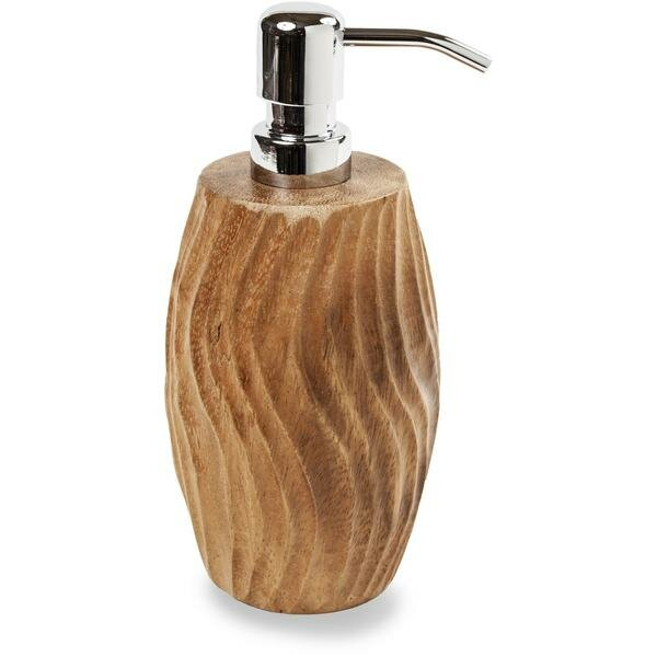 Mikel Round Suar Wood Soap & Lotion Dispenser by Mistana