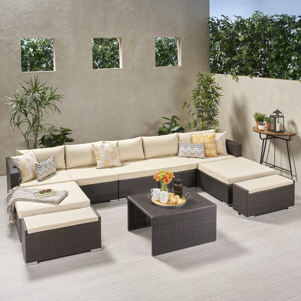 Guccione Outdoor U Shaped 10 Piece Sectional Seating Group with Cushions by Orren Ellis