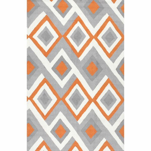 Isenberg Hand-Hooked Orange/Gray Area Rug by Mercury Row