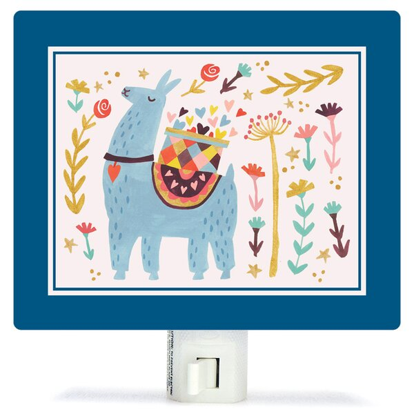 Blue Llama by Irene Chan Canvas Night Light by Oopsy Daisy