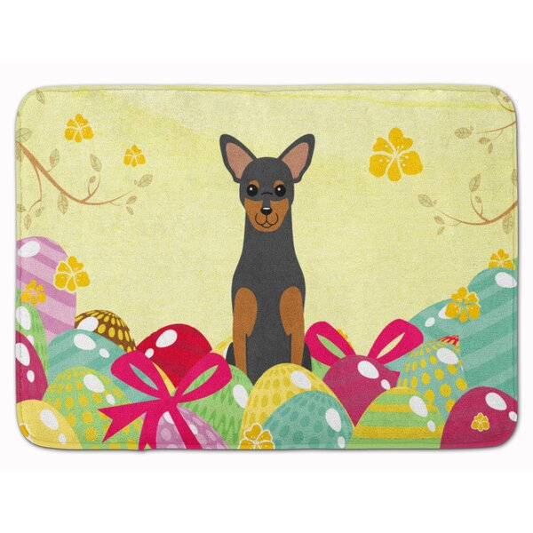 Easter Eggs Manchester Terrier Memory Foam Bath Rug by The Holiday Aisle