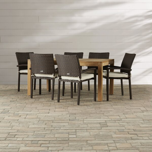 Arango 7 Piece Teak Dining Set with Cushions by Beachcrest Home
