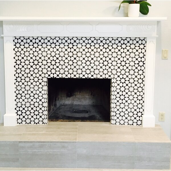 Medina 8 x 8 Handmade Cement  Tile in Black/White