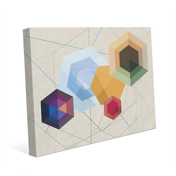 Amber Hexagonal Light Graphic Art on Wrapped Canvas by Click Wall Art