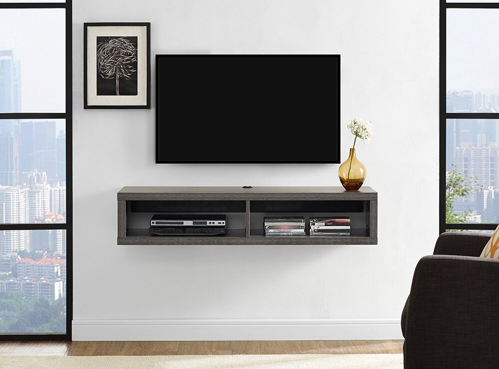 Martin home furnishings 48 shallow wall mounted tv - Tv wall mount with shelf ...