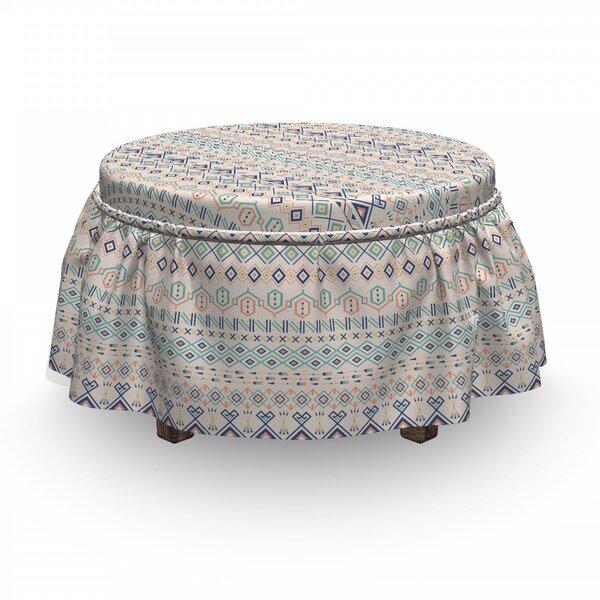 Geometric Aztec Motifs Squares 2 Piece Box Cushion Ottoman Slipcover Set By East Urban Home