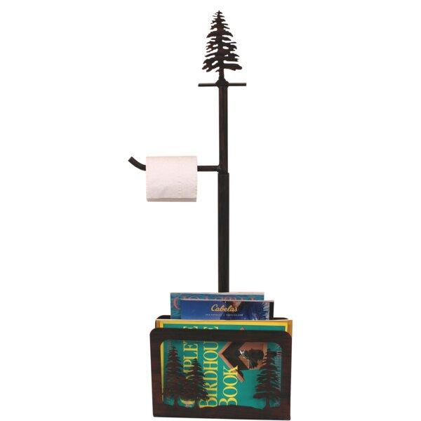 Iron Pine Trees Freestanding Toilet Paper Holder with Magazine Rack