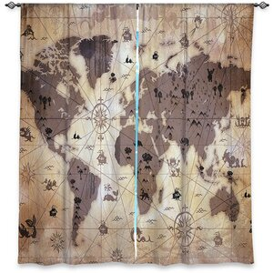 Caila Angelina Vick's Window Whimsical World Map I Room Darkening Curtain Panels (Set of 2)