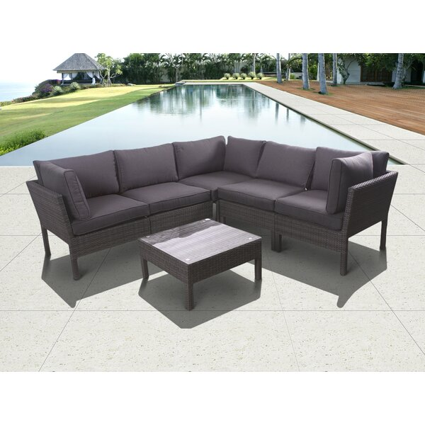 Brian 6 Piece Rattan Sectional Seating Group with Cushions by Longshore Tides