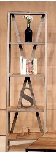 Metal / Wood Linear Bookcase by REZ Furniture
