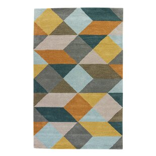 Benson Hand Tufted Wool Yellow Gold Teal Area Rug