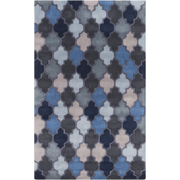 Billmont Geometric Handmade Tufted Wool Teal Area Rug
