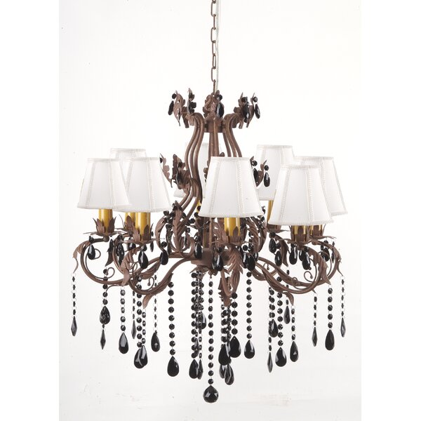 Floral and Leaf 8-Light Shaded Empire Chandelier by Hobbitholeco. Hobbitholeco.