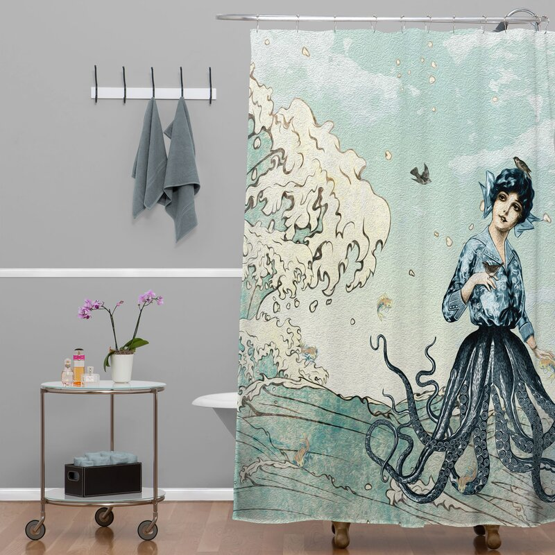 Brayden Studio Ketner Sea Fairy Extra Long Shower Curtain ...